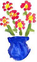 My First flower painting fingerprint project...easy idea for my prek kids!