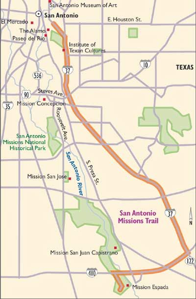 Texas Secnic Drives San Antonio Missions Trail San Antonio And - San jose bike trails map