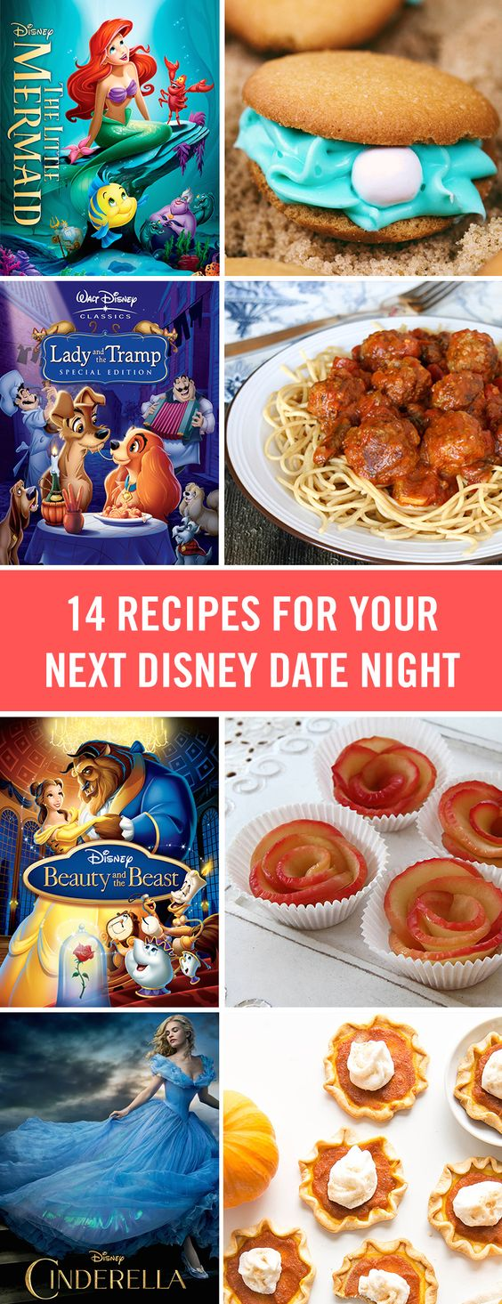 """Plan the perfect """"Bella Notte"""" for the whole family (or just for the two of you) with these romantic Disney movies and fun recipes that match. From Lady and the Tramp's spaghetti and meatballs to a magic carpet pizza, these recipes are perfect for Valentine's Day or any Disney date night."""