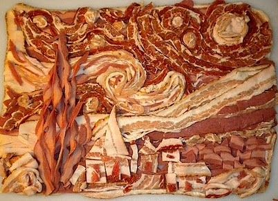 Van Gogh's Starry Night Made Out of Bacon