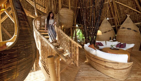 There's Some Unique Homes In The Jungles Of Bali. Can You Guess What They Are Built Of?,,GVV4-11-study-stair-riohelmi:
