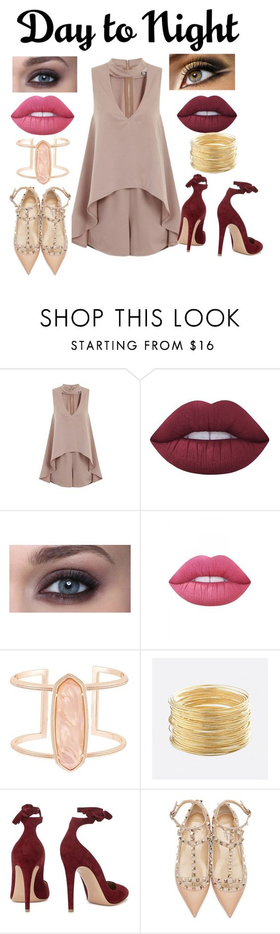 """day to night"" by mojany ❤ liked on Polyvore featuring Lime Crime, Kendra Scott, Avenue, Gianvito Rossi, Valentino, DayToNight and romper"
