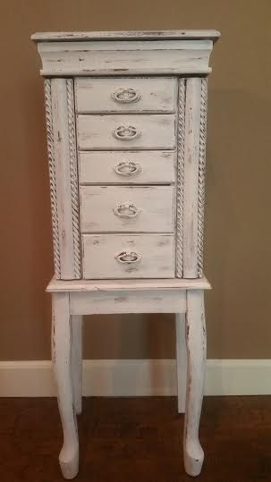 Jewelry Armoire - Large Jewelry Armoire - Tall Jewelry Box - Jewelry Chest - Large Jewelry Box - Shabby Chic Jewelry Box - White Jewelry Box by MyHailiesHaven on Etsy