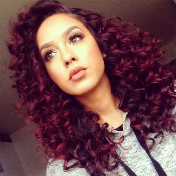 Curly Black Hair With Red Highlights Google Search