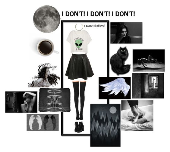 """""""I DON'T BELIEVE IN HUMANS"""" by coopdogxo on Polyvore featuring Pilot, Camille K, Tamara Mellon, white, black, aliceinwonderland and chocker"""