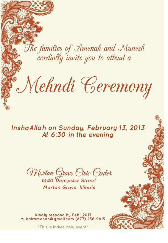 Pin by Invite Online on Mehndi Invitations \/ Wording Samples - ceremony invitation template