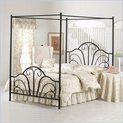 Hillsdale Dover Black Metal Canopy Bed - Full