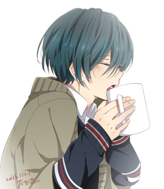 Ikuya drinking what looks like hot chocolate~  Anime: Free! High Speed: