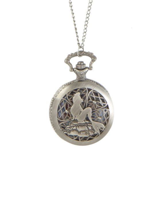 Burnished silver tone chain and pocket watch with cut-out The Little Mermaid design.: