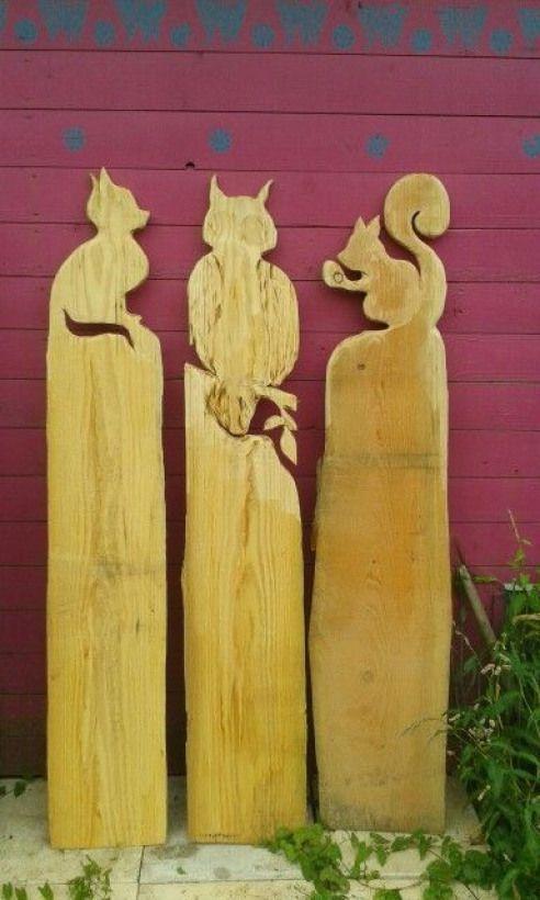Katze Eule Eichhornchen Small Wood Crafts Smallwoodcrafts Gartendeko Holz Hof Kunst Zaunlatten