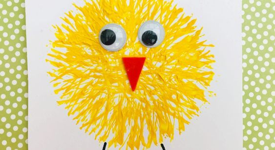 Fork painting - enjoy these funky fork print Easter chicks as a great Easter craft for kids