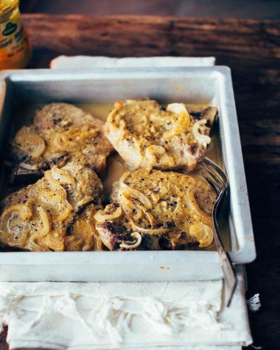 Côtelette de porc miel et moutarde  ( four à 230°)