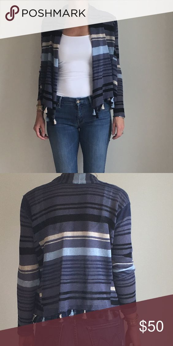 Calypso St. Barth Striped Sweater Fun swingy cardigan with striped in shades of blue with tassel gem.  Linen.  Size xs. Calypso St. Barth Sweaters Cardigans