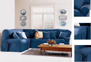 Denim sectional covers | Denim Sectional Sofa with Chaise by True Contemporary Living Room | Home decorating ideas | Pinterest | Sectional covers ... : denim sectional couch - Sectionals, Sofas & Couches