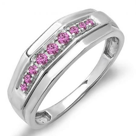 Share and get $20 off your order of $100 or more. 0.25 Carat (ctw) Sterling Silver Round Pink Sapphire Men's Wedding Anniversary Band 1/4 CT - Dazzling Rock #https://www.pinterest.com/dazzlingrock/