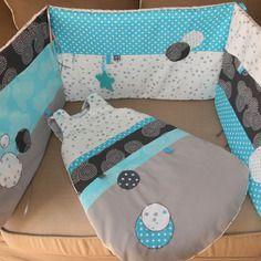 th me gris blanc turquoise disponible tour de lit et gigoteuse 0 6 mois baby pinterest. Black Bedroom Furniture Sets. Home Design Ideas