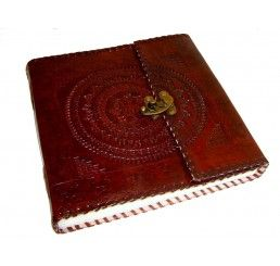 "#Leather #Diary with beautiful #traditional design and a lock on it for safety. 9"" inches in width can be used for all personal stuffs. Great #handmade work done on it."