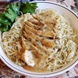 Angel Chicken Pasta -: Angel Hair Chicken Pasta, Cream Cheese, Salad Dressing, Chicken Angel Hair Pasta, White Wine, Angel Chicken Pasta, Chicken Breast, Angel Hair Pasta Recipes, Romantic Dinner
