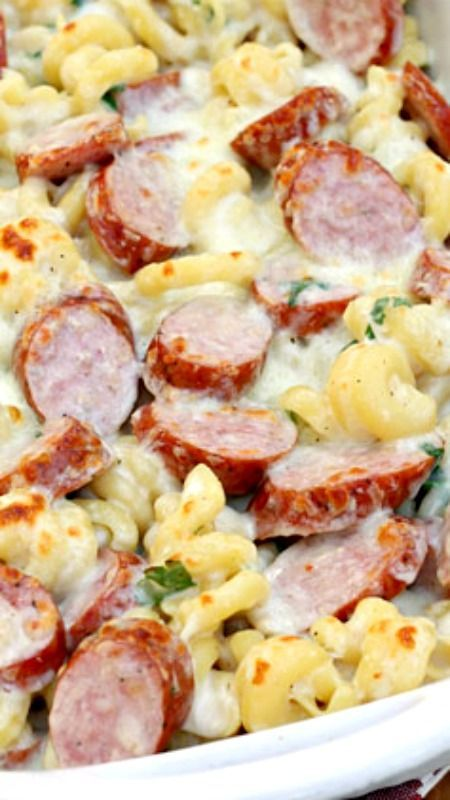 Spicy Smoked Sausage Alfredo Bake ~ Says: There are so many things you could add to this recipe. Think mushrooms, bell peppers, etc., and of course, you could make a non-spicy version. Feel free to experiment and adapt it to your tastes.: