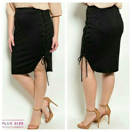 """Lace-up Skirt Chic, black skirt with lace-up side detail,  36"""" waist, 26"""" long (3x) 96% polyester, 4% spandex, made in USA. BUNDLE & SAVE 15%, OFFERS WELCOMED Boutique  Skirts"""
