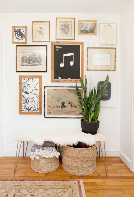 Handcrafted heart pine frames.: