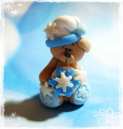 *POLYMER CLAY ~ Bear with Snowflake Polymer Clay Charm Bead, Scrapbooking, Bow Center, Pendant, Cupcake topper, Magnet