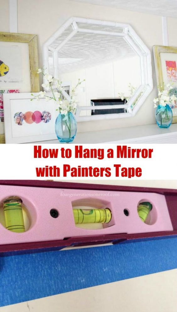 How to hang a mirror with painters tape. This is such an easy way to get the exact measurements without using a measuring tape.
