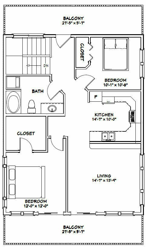 28x36 House 2 Bedroom 1 5 Bath 1 170 Sq Ft Pdf Floor Plan Model 4a 29 99 Picclick Garage House Plans Cabin House Plans Floor Plans