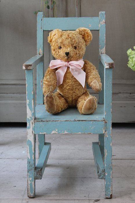 vintage bear on a little childs chair ours is 1990 39 s build a bear in mom 39 s blue doll chair. Black Bedroom Furniture Sets. Home Design Ideas