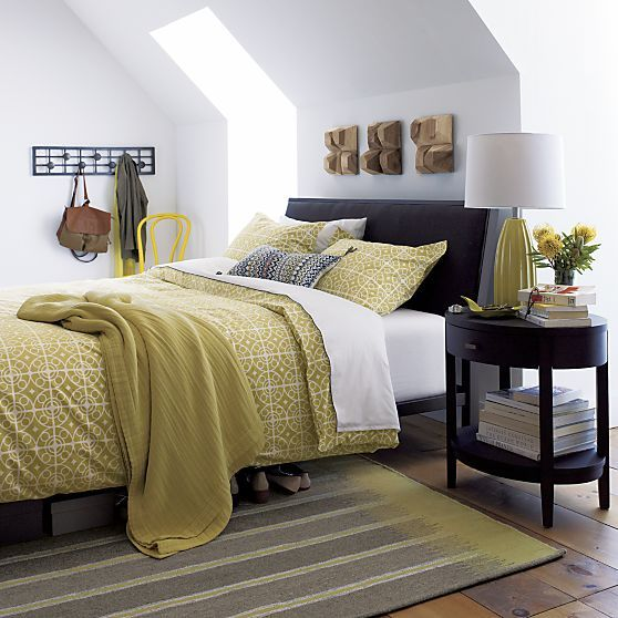 Isaac charcoal bed crate and barrel bedrooms for Crate and barrel arch