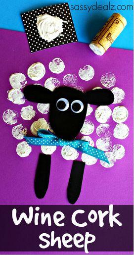 artesanía del corcho del vino ovejas