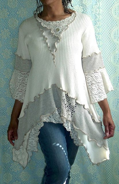 Cream, Beige Ribbed Tunic: