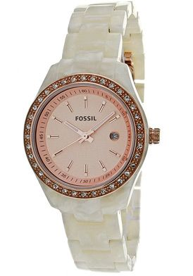 Fossil Women's Stella Gold Tone Dial White Resin