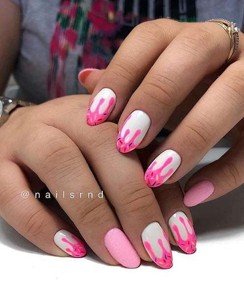 23 Creative Ways To Wear Pink And White Nails Page 2 Of 2 Stayglam Drip Nails Pink White Nails Nails