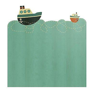 Tête de lit Bateau en bois de pin  Bleu clair et bleu marine  115 x 5 x 105 cm
