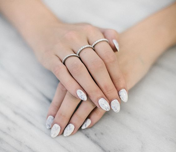 White Marble Nails: