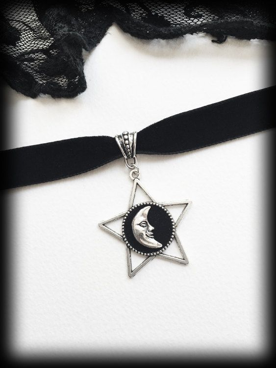 Celestial Jewellery Pagan Black Collar Necklace Goth Witchcraft Grunge Jewelry Silver Moon Choker Witch Aesthetic Gothic