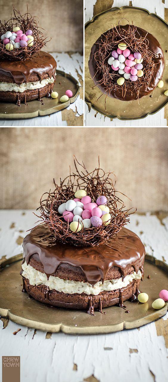 Chocolate Easter Egg Nest Cake