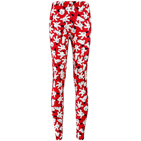 Pink Queen Red Mickey Mouse Gesture Printed Chic Ladies Leggings (€10) ❤ liked on Polyvore featuring pants, leggings, bottoms, red, pink pants, pink trousers, pink leggings, red pants and mickey mouse leggings