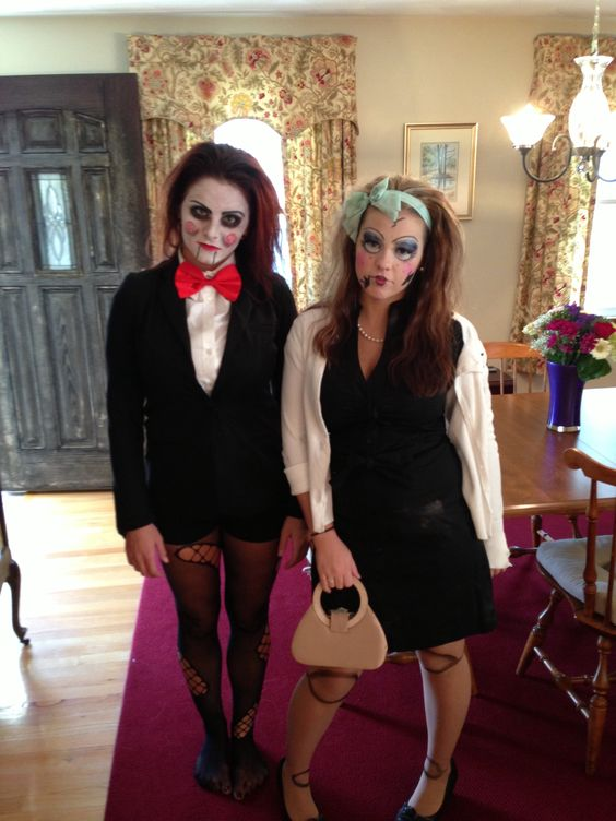 Jigsaw from Saw and broken evil doll halloween costumes ...