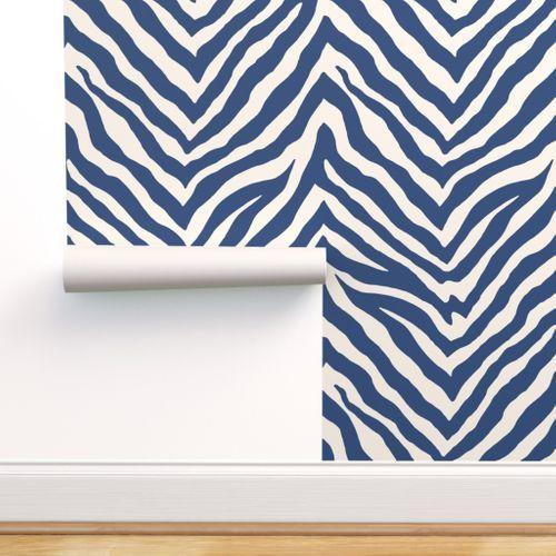Zebra In Navy Spoonflower Zebra Striped Wallpaper Striped Wallpaper Zebra Wallpaper