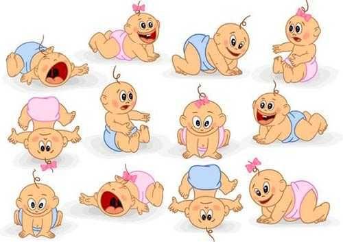 Calendario Orientativo Desarrollo Del Bebe De 0 A 18 Meses Caricatura De Bebe Diseno De Arte Grafico Historieta Graciosa