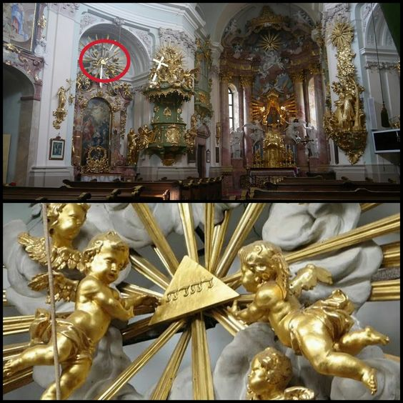 Photo: The Church of Hafnerberg, Austria. Divine Name on top of altar art #Tetragrammaton #Jehovah #Yahweh #Godsname #DivineName #Bible