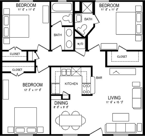 Three bedroom apartment plan house pinterest for Garage apartment floor plans 3 bedrooms
