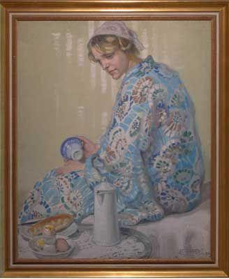 Sleepy, 1911, by Hilda RIX NICHOLAS: