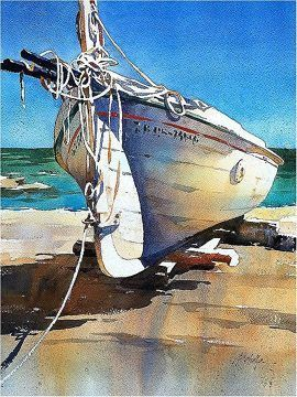 Boat - Spain by Thomas W. Schaller Watercolor ~ 20 inches x 14 inches