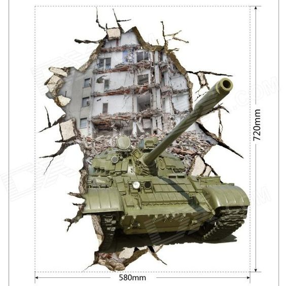 3D Tank Art Wall Decal Removable PVC Sticker Army