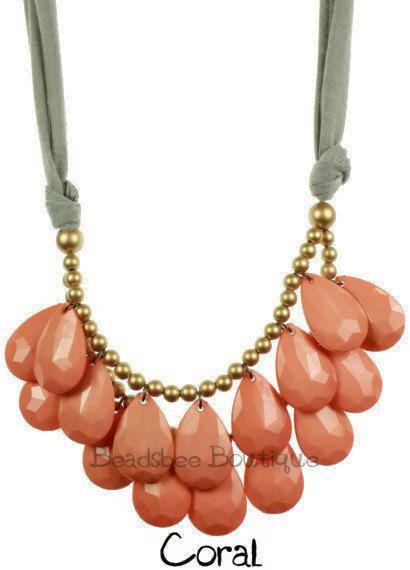 Anthropologie Necklace, Bib Necklace, Coral Statement Necklace, Teardrop Necklace, Statement Necklace. $11.00, via Etsy.