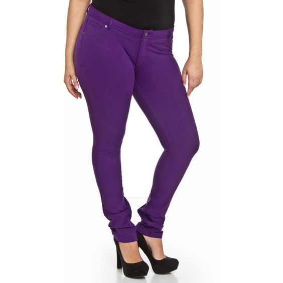 Jenna Jeggings, Jeggings 18, Purple Jeggings, Leggings Purple, Pants Purple,  Leggings Und, Leggings Zipper, Plus Size Leggings, Womens Leggings - Hey Collection Jenna Jeggings ($18) ❤ Liked On Polyvore Featuring