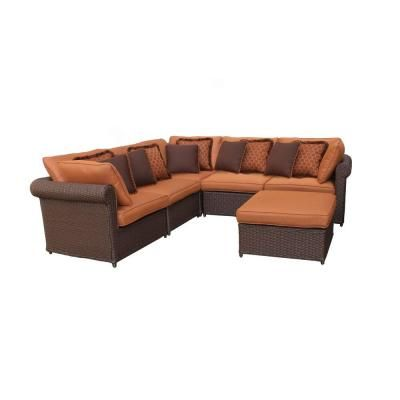 Hampton Bay Cibola 6 Piece Sectional Patio Seating Set 1 999 At Home Depot Outdoor Patio